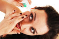 Girl need eye drops. Royalty Free Stock Image