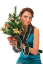 Girl with the new-year tree. Royalty Free Stock Photo
