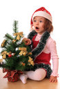 Girl with new-year tree. Royalty Free Stock Photography