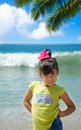 Girl by the ocean portrait of beautiful little Royalty Free Stock Photography