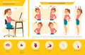girl office syndrome info graphic and stretching exercise