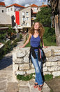 Girl in old Budva Royalty Free Stock Images