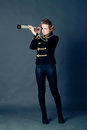 Girl in the old-fashioned uniform Royalty Free Stock Photo