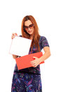 Girl open a gift box Stock Images