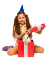 Girl open red present box with real bunny Royalty Free Stock Photo