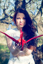 Girl with origami crane red Royalty Free Stock Images