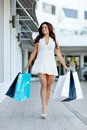 Girl out shopping Stock Photos