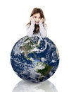 Girl over the planet earth little resting with her arms a small isolated on white background Stock Photography