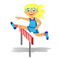 Girl overjumps hurdle childrens sport in summertime Royalty Free Stock Image