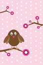 Girl owl cute bird on branch Royalty Free Stock Images