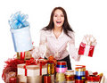 Girl packing group of gift box. Stock Photos