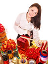 Girl packing group of gift box. Royalty Free Stock Image