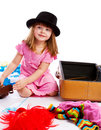 Girl packing suitcase Royalty Free Stock Photos