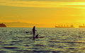 Girl On The Paddleboard With H...