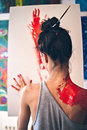 Girl paint with her fingers Royalty Free Stock Photo