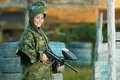 Girl paintball player Stock Photography