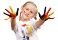 Girl with painted hands Royalty Free Stock Image