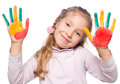Girl with painted palms child on white Stock Photography