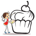 A girl painting the cupcake illustration of on white background Stock Photo