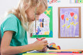 Girl paints markers for art lessons pretty Stock Photos