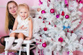 Girl parents christmas fir tree gifts Royalty Free Stock Photography