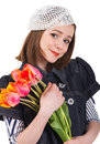 Girl in parisian style with tulip flowers Stock Photos