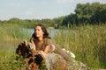Girl park Fotografering för Bildbyråer