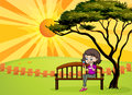 A girl in the park sitting in the wooden bench illustration of Royalty Free Stock Photo