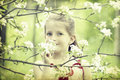 Girl in the park vintage photo beautiful blonde playing Royalty Free Stock Photo