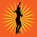 Girl party vector silhouette illustration on orange background Stock Photos