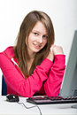 Girl with pc Stock Photography