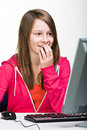 Girl with pc Stock Images