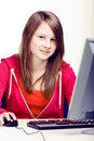 Girl with pc Stock Photos
