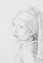Girl with pearl earring pencil drawing hand drawn illustrating a reproduction of the famous painting the the by vermeer Stock Photos