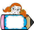 Girl with pencil personalized label sticker