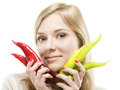 Girl with pepper Stock Image