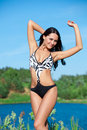 Girl with perfect body on the lake Royalty Free Stock Photo