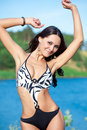 Girl with perfect body on the lake Royalty Free Stock Photos