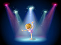 A girl performing ballet on the stage with spotlights illustration of Royalty Free Stock Images