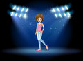 A girl performing in the middle of the stage illustration Royalty Free Stock Photography