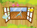 A girl performing yoga inside a house with birds at the window illustration of Royalty Free Stock Image