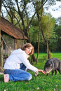 Girl with pet Royalty Free Stock Images