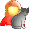 Girl with pet cat icon Stock Photo