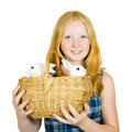 Girl with pet rabbits Royalty Free Stock Photo