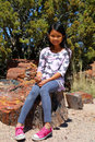 Girl in Petrified Forest Royalty Free Stock Photo