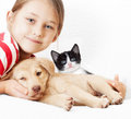 Girl with pets kitten and puppy Royalty Free Stock Photo