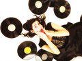 Girl with phonography analogue records music lover happy retro woman vintage vinyl Royalty Free Stock Image