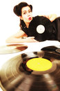 Girl with phonography analogue records music lover happy retro woman vintage vinyl Stock Photography