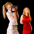 Girl-photographer and model Royalty Free Stock Image