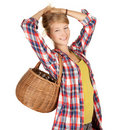 Girl with picnic wicker basket Stock Photo